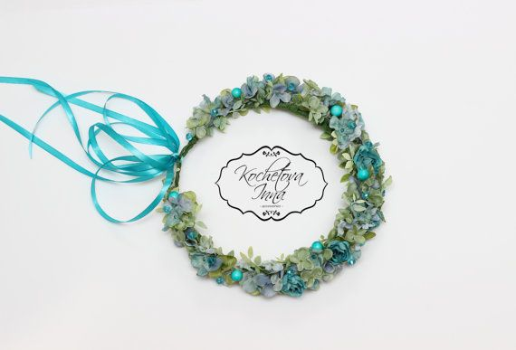 Turquoise floral crownFlower haloFlower by ByKochetova on Etsy