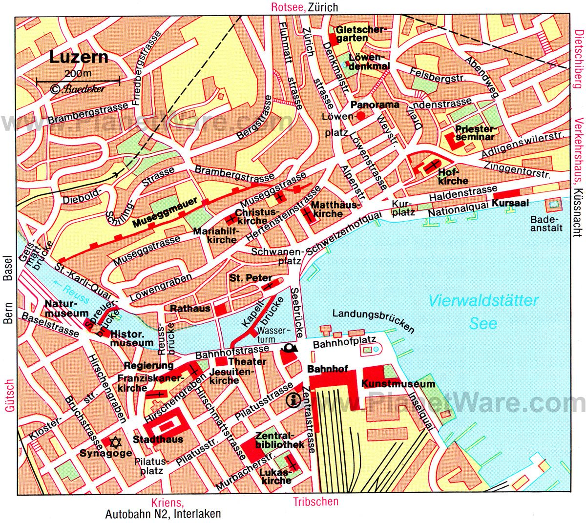 Luzern Map Tourist Attractions Heidiland Pinterest Lucerne