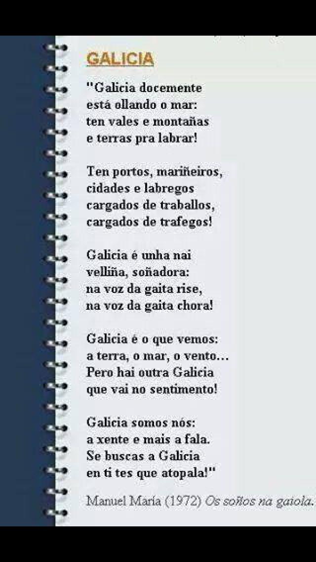 Galicia Poema De Manuel María Da Obra Os Soños Na Gaiola Poemas Refranes Libros