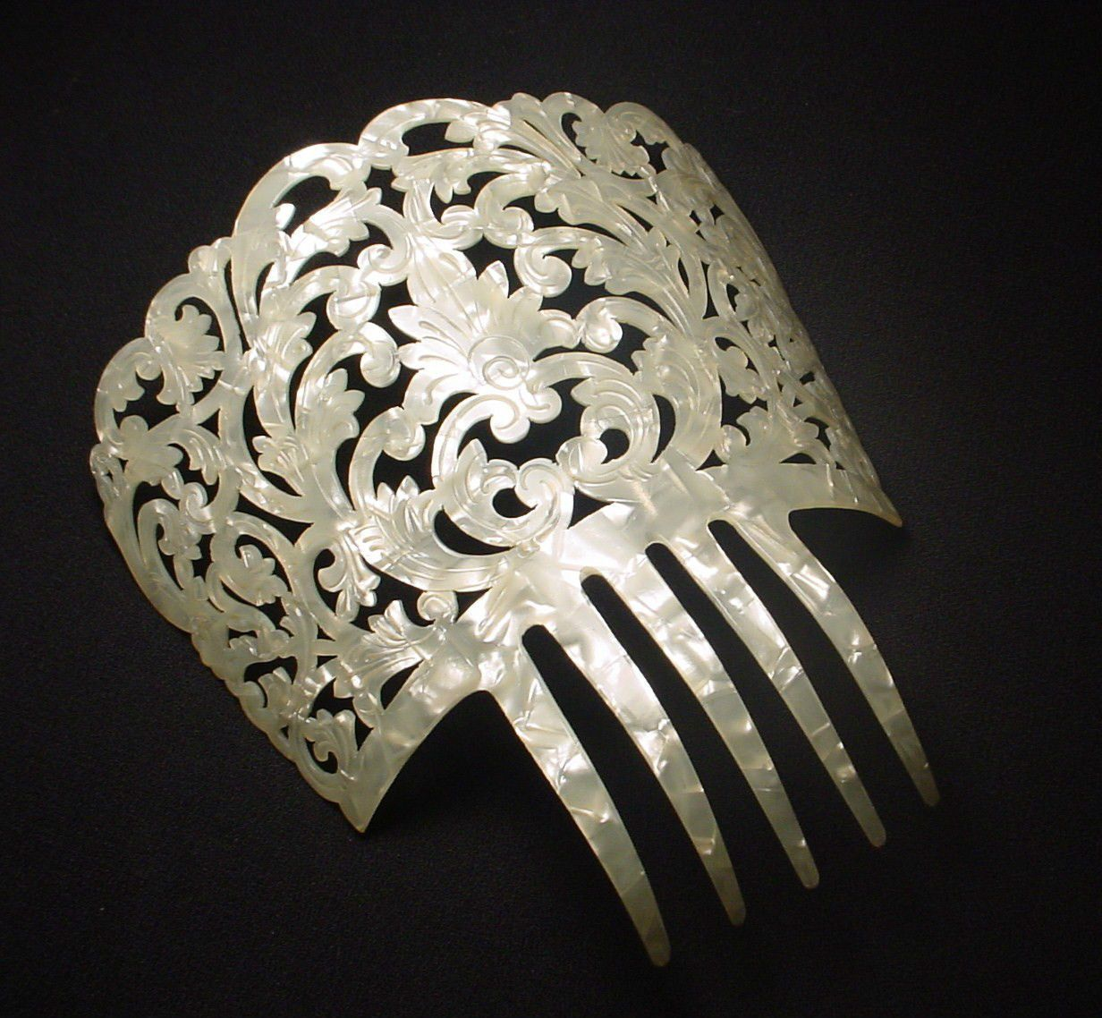 vintage celluloid spanish hair comb white pearlized mop dance