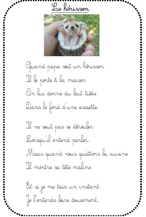 Le Hérisson De Papa Maternelle Comptines Et Chanson Animaux