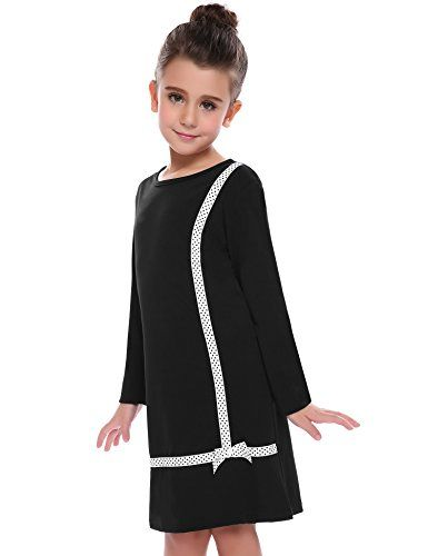 691628b06a5 Little Girls Long Sleeve Cross Pattern Solid Color Winter Casual Dress