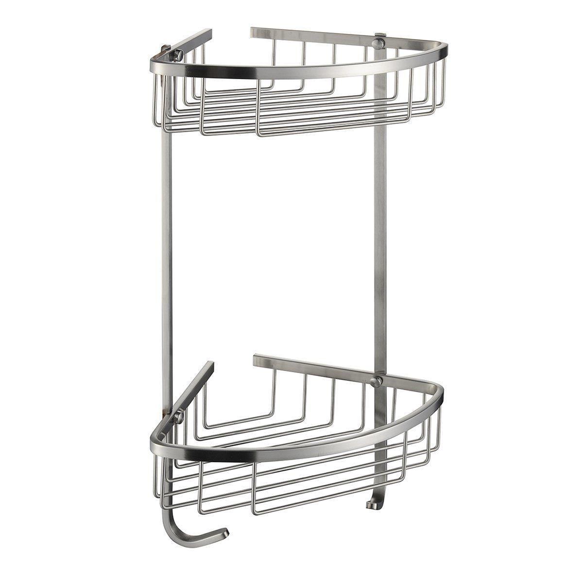 SUS 304 Stainless Steel Shower Caddy Basket 2-Tier Triangular Wall ...