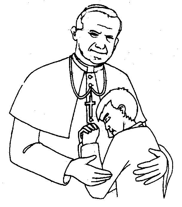 Pope John Paul II Catholic coloring page. Feast day is October 22nd.