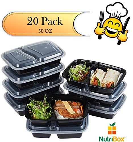 Nutribox 20 pack 30oz Two 2 compartment Plastic Food storage