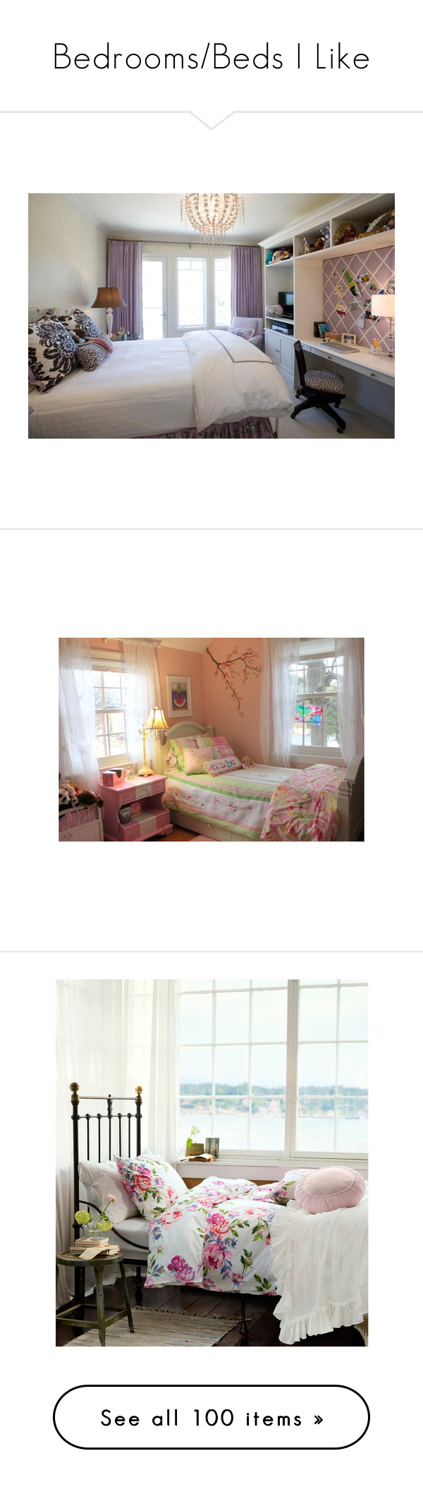 """""""Bedrooms/Beds I Like"""" by ecpjll ❤ liked on Polyvore featuring rooms, bedrooms, house, pictures, home, bedroom, home decor, window treatments, curtains and houses"""