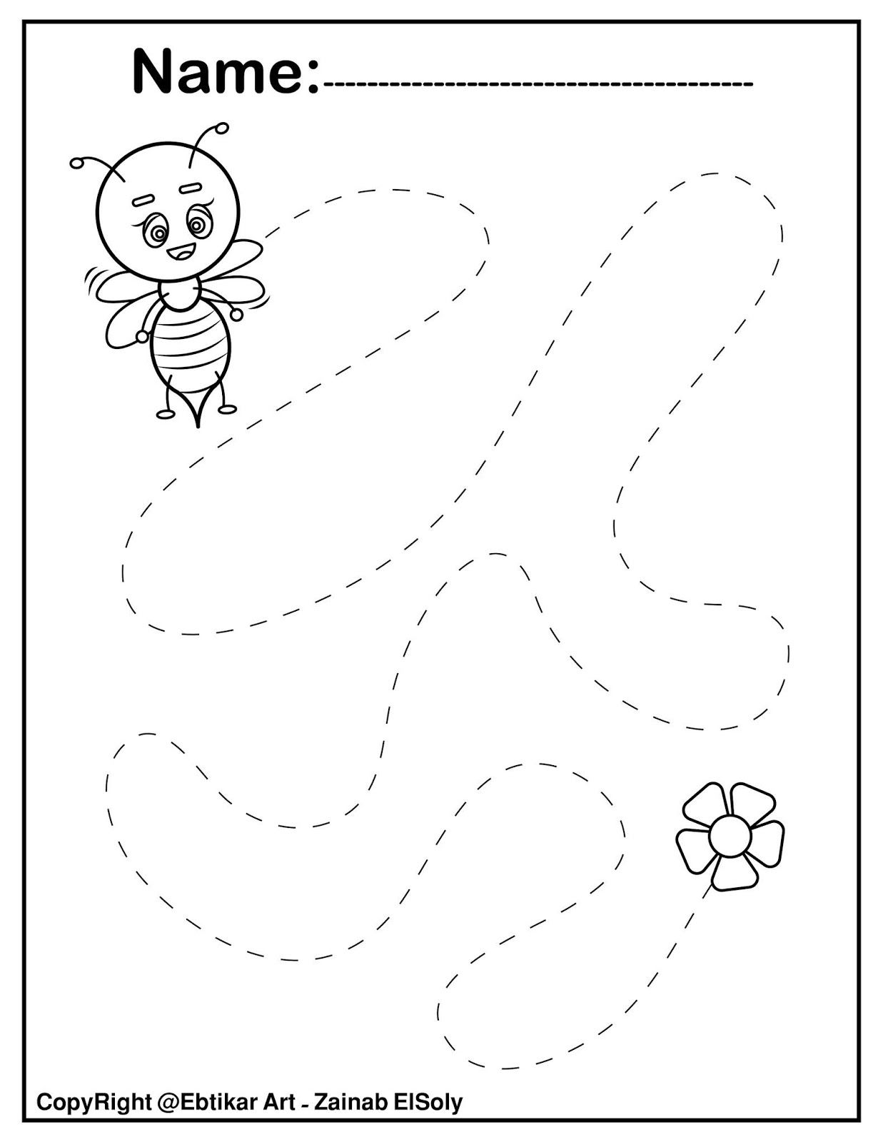 Set Of Fine Motor Tracing Bee Activity In With