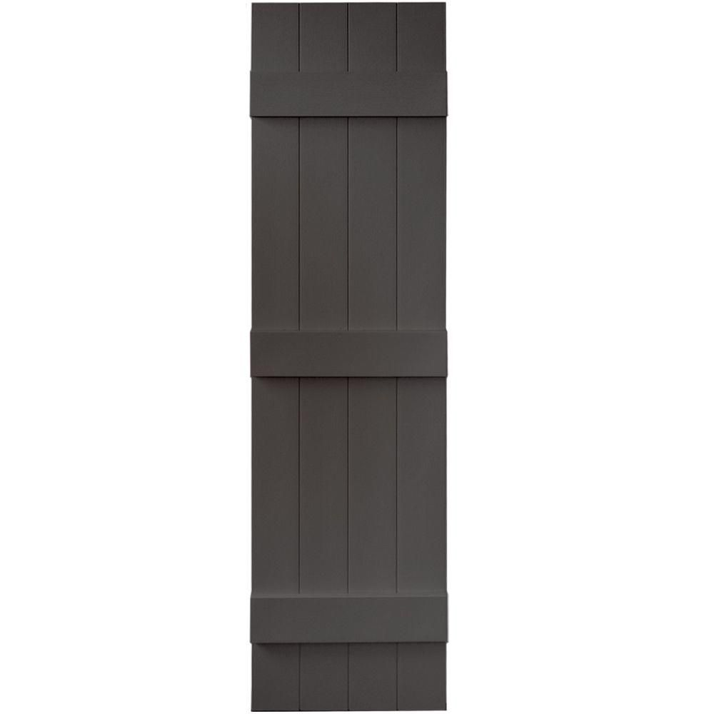 Builders Edge 14 in. x 55 in. Board-N-Batten Shutters Pair, 4 Boards ...