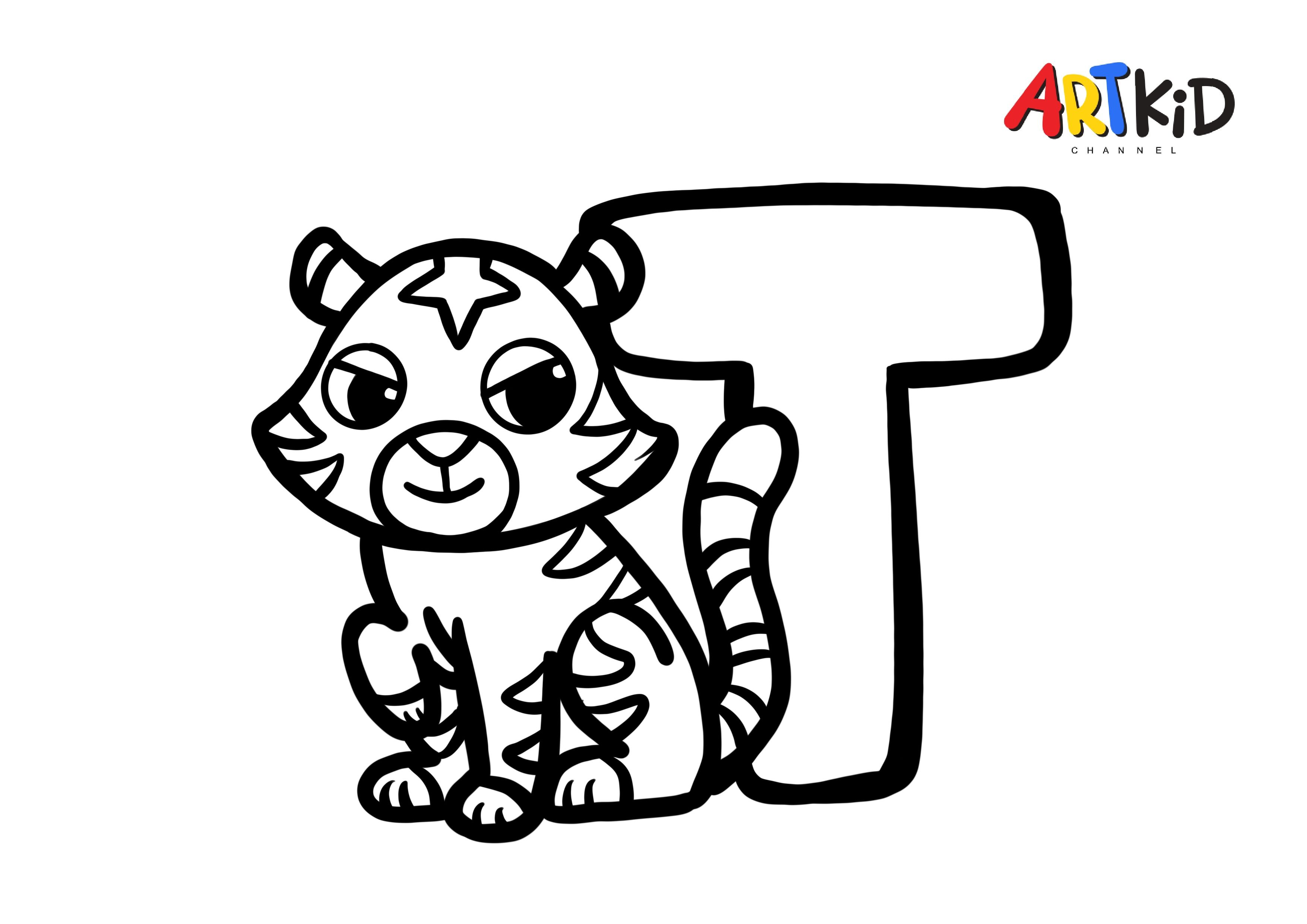 T Letter Tiger Alphabet Free Printable Coloring Pages