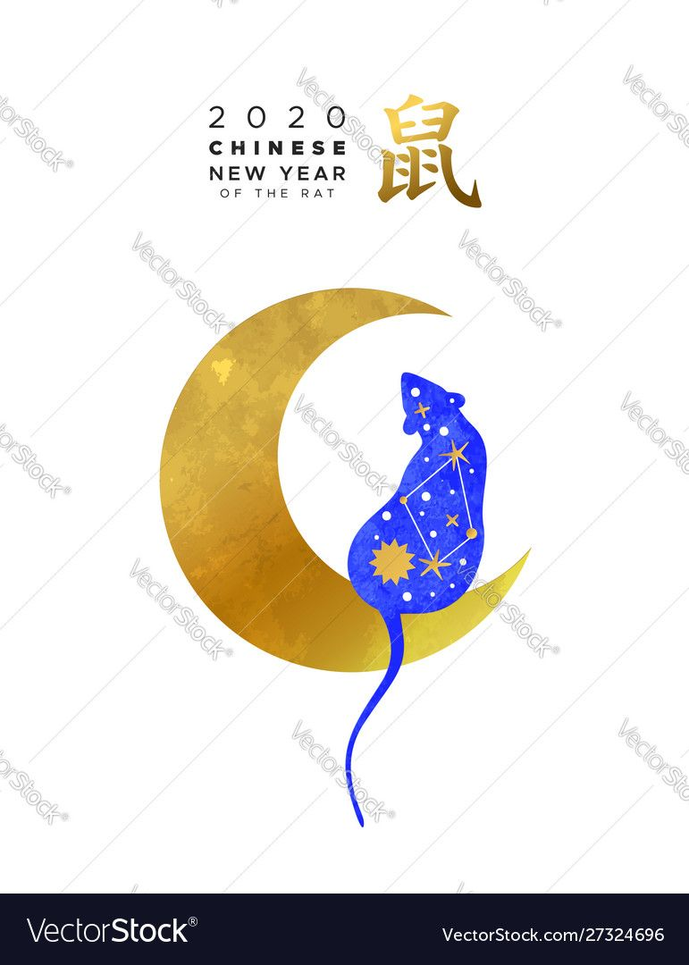 Chinese new year 2020 blue rat on gold moon card vector