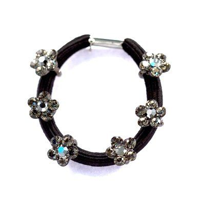 DoubleAccent Hair Jewelry Dainty Simulated Crystal Flower Ponytail Holder, Black >>> Find out more about the great product at the image link.