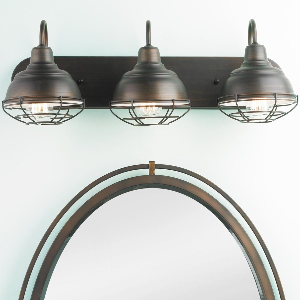 Vanity Lights Shine Up Or Down : Industrial Cage 3 Light Vanity Light Vanities