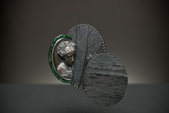 Bettina Speckner (Germany)    Brooch for Vivien.  Silver, sapphire and ruby beads.