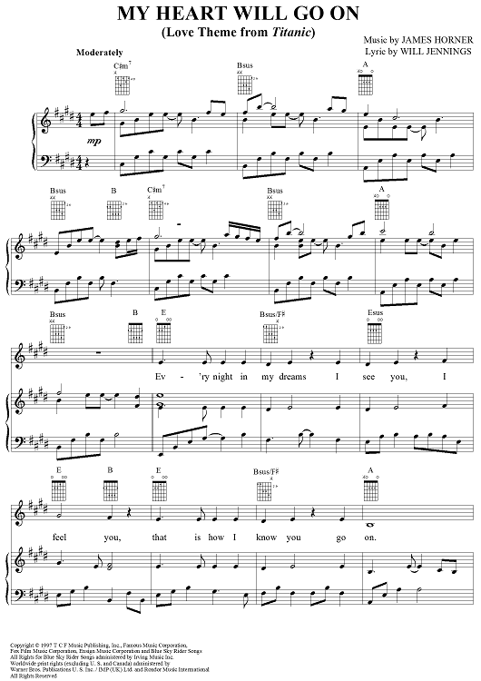 My Heart Will Go On Love Theme From Titanic Sheet Music