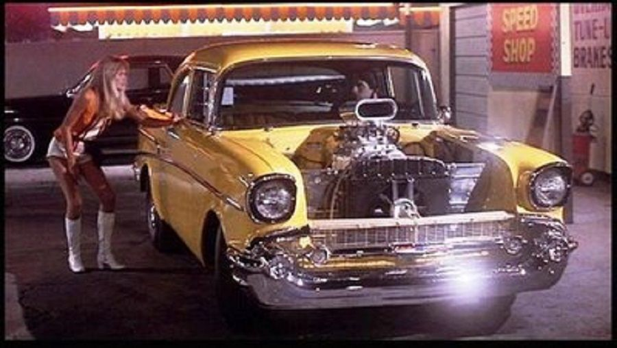 tonys yellow 57 chevy hotrod in the hollywood knights