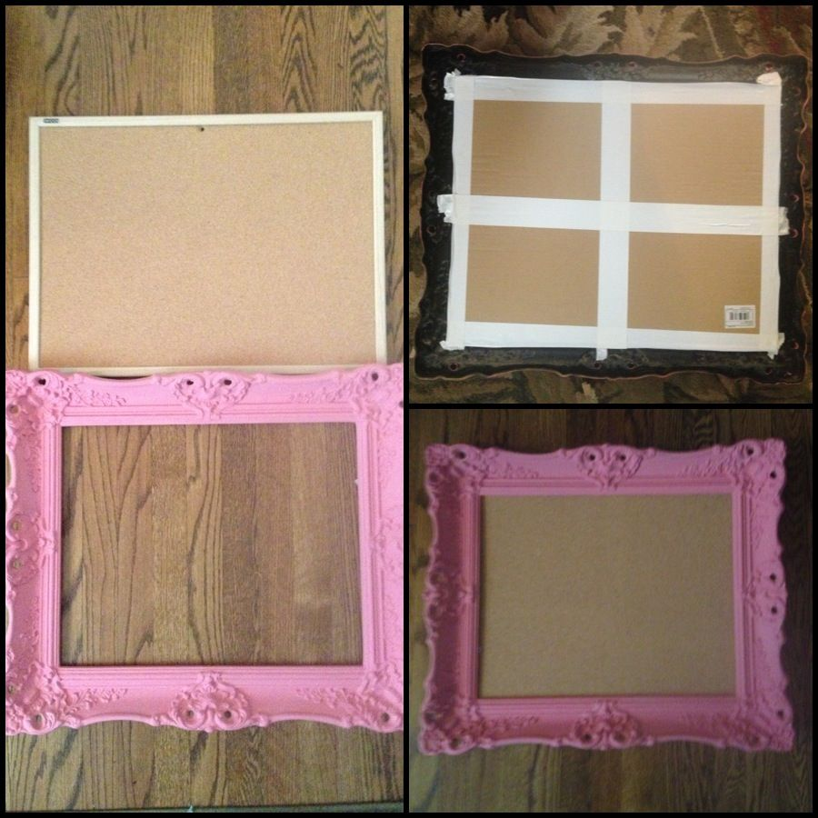 DORM ROOM DIY. Black Plastic Frame Painted Pink, Cork Board Cut To Size Of