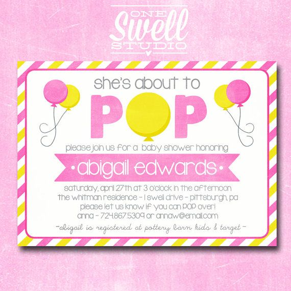 About To Pop Ready Baby Shower Invitation By Oneswellstudio 1250