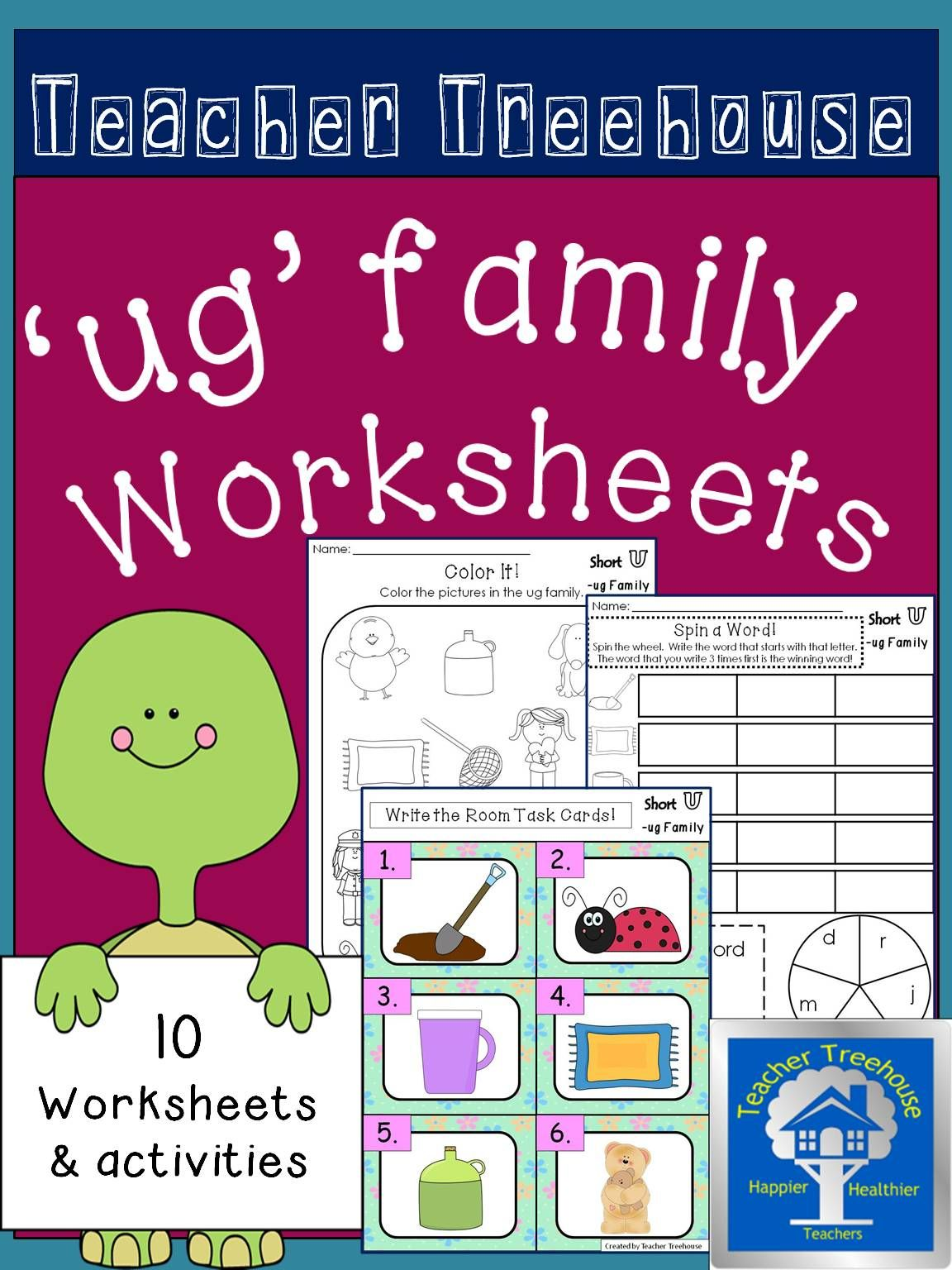 ug Word Family Worksheets | Morning work, Homework and Worksheets