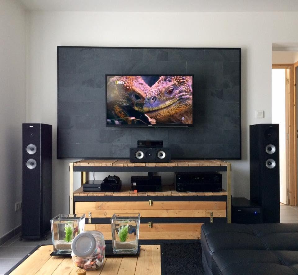 un meuble t l industriel petit prix bidouilles ikea pinterest home theater seating. Black Bedroom Furniture Sets. Home Design Ideas