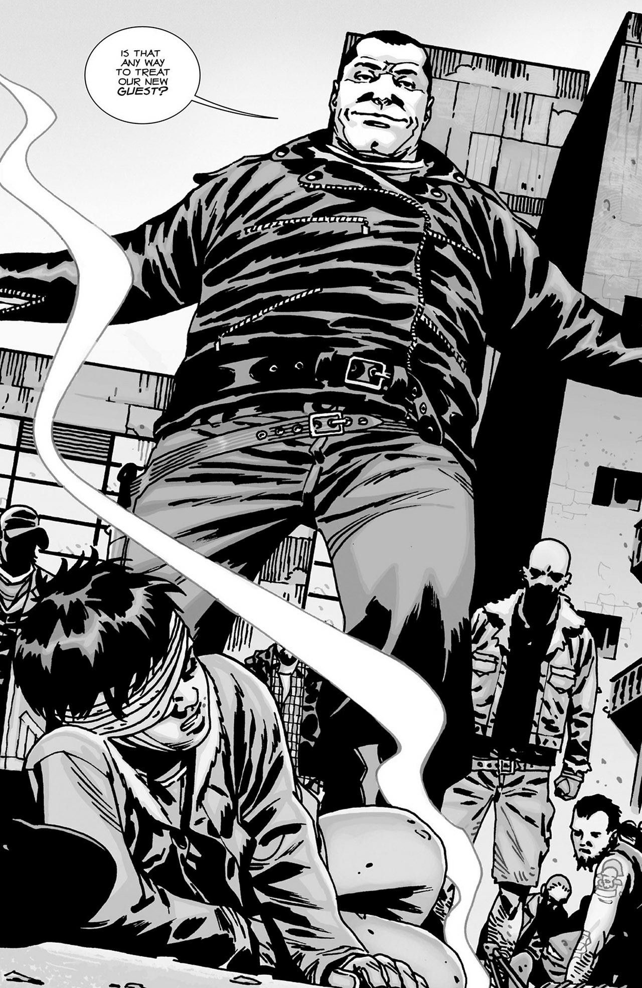 Negan. Possibly Carl on the ground? Maybe his eye really will get shot?
