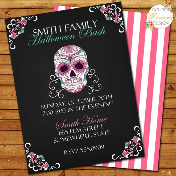 Halloween Day of the Dead Party Invitation, Halloween Invitation - halloween ideas party