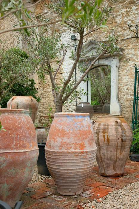 Collection Of Old Water Jars And Olive Pots Spain