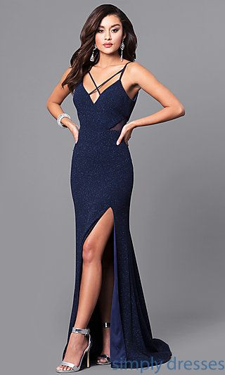 3e063324a Shop navy blue prom dresses with glitter print at Simply Dresses. Open-back  long
