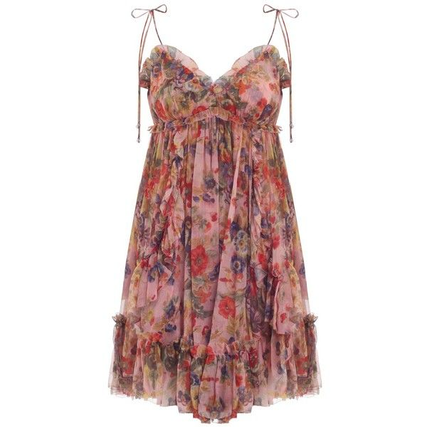 b3b7523857c2 Zimmermann Lovelorn Frill Mini Dress in Pink Floral ($745) ❤ liked on  Polyvore featuring dresses, mini dress, floral print dress, red mini dress,  ...