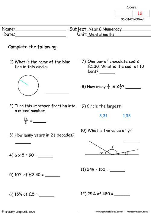 Year-6: Numeracy: Mental-maths Printable Resources & Free ...