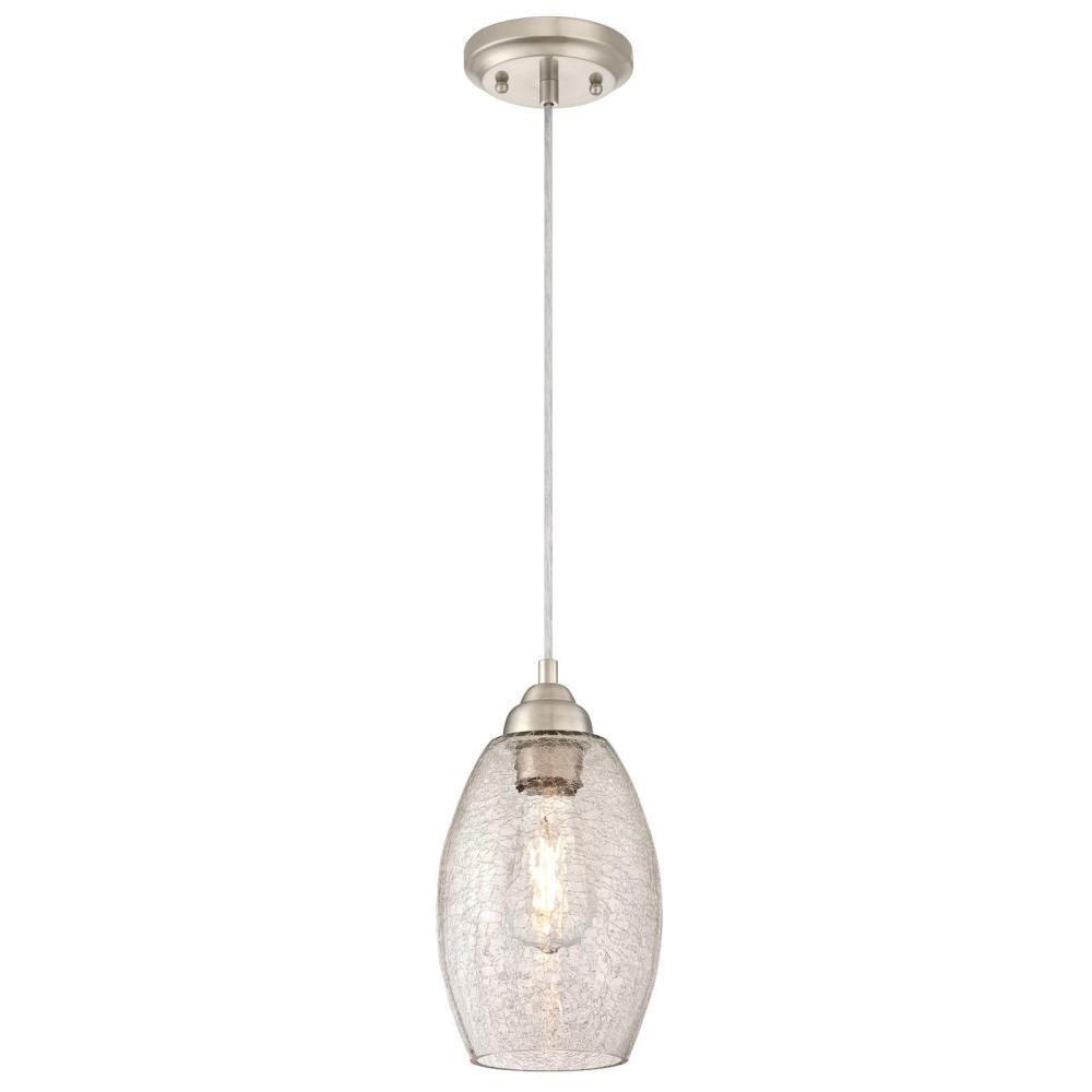 Westinghouse 1 Light Brushed Nickel Mini Pendant With Clear Crackle Glass Shade 6105700 The Home Depot Glass Pendant Light Hanging Light Fixtures Pendant Light Fixtures