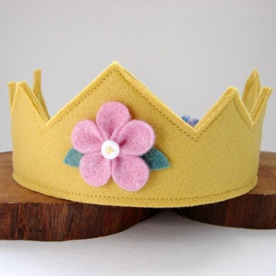 Items similar to Wool Felt Crown -- Fairy Child crown in 100% merino wool with hand dyed flowe on Etsy