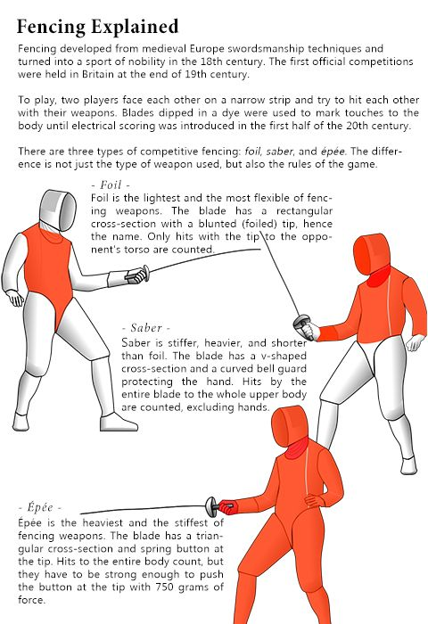 Clever Graphic To Explain The Fencing Weapons Tips