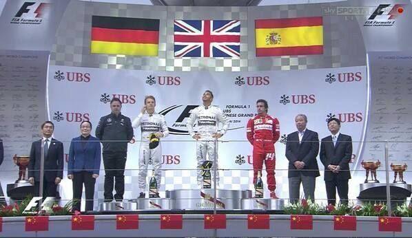 Gran premio de China 1) Lewis H 2) Nico R 3) Fernando A