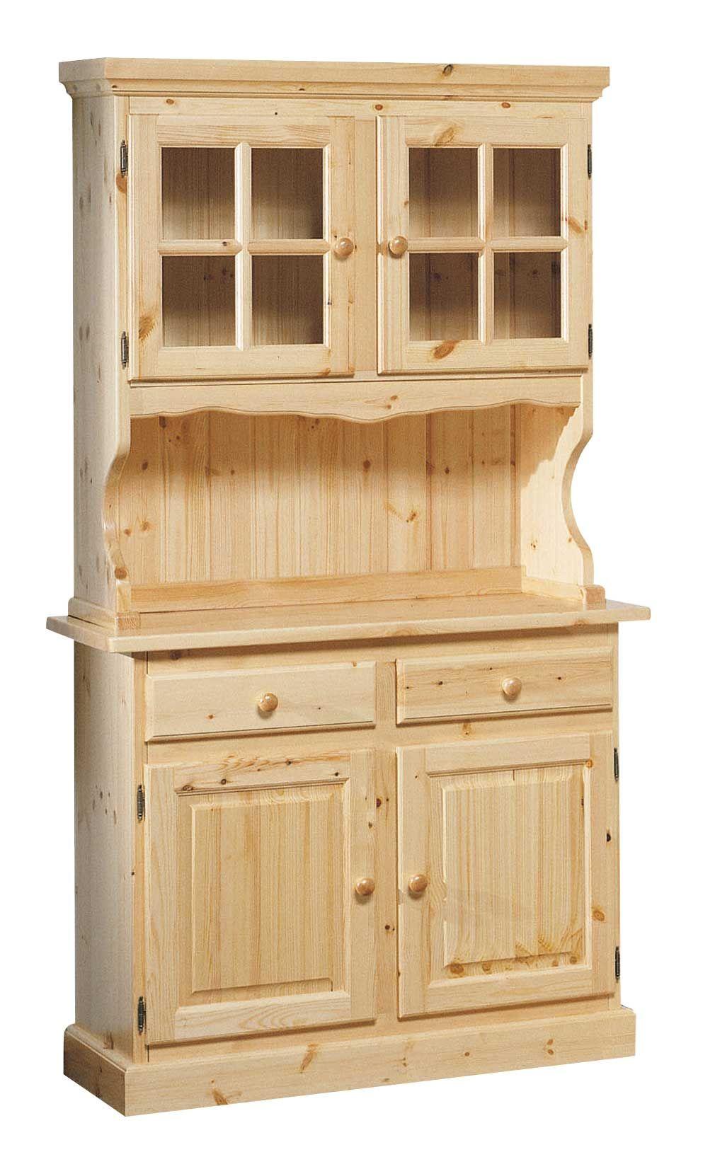 Cristalliera rustica cornice dritta proposta in colore naturale completamente in legno massello - Mobili in pino di svezia ...