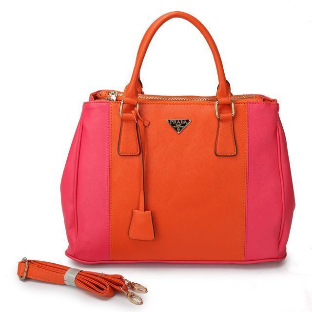 eb20369d8ddc ... aliexpress cheap prada saffiano orange red bicolor double zip tote pin  it prada14164 fa8c0 2b777 ...