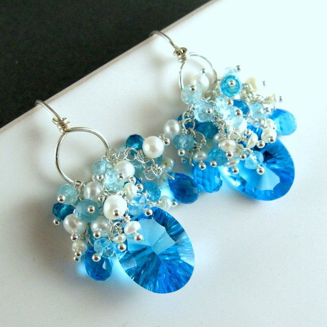Swiss Blue Quartz and Pearl Cluster Earrings by SurfAndSand