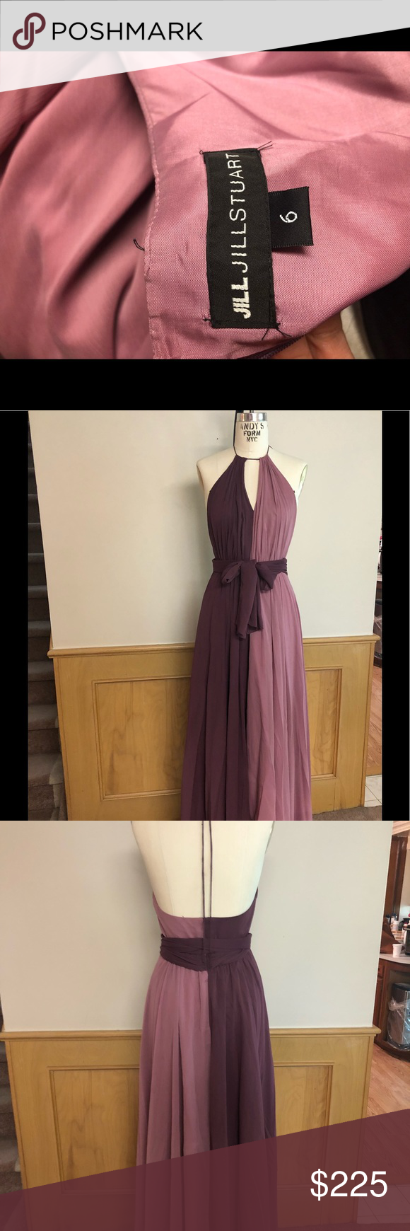 3da132627a Jill Jill Stuart color block gown Beautiful mauve and thistle color block  halter dress in size 6. Flattering with a waste tie and neckline keyhole.