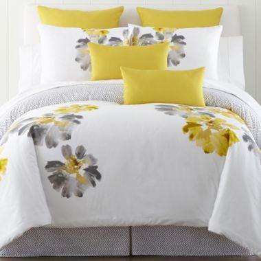 Jcp Home Gray Flower Power Comforter Set And Accessories