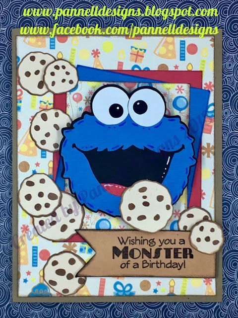 Cookie Monster Birthday Card Made With Svg Cutting Files Card Sketch