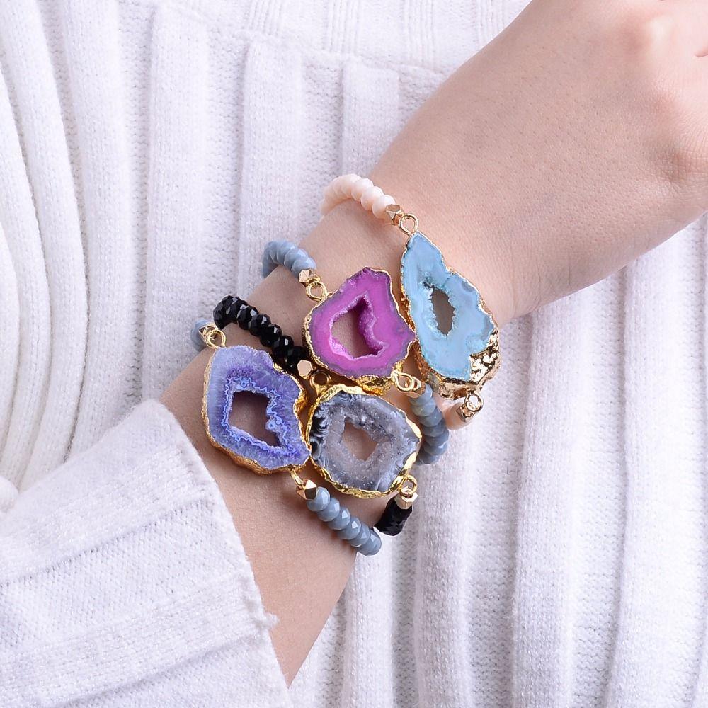 Bojiu fashion natural ag druzy stone crystal bead elastic string