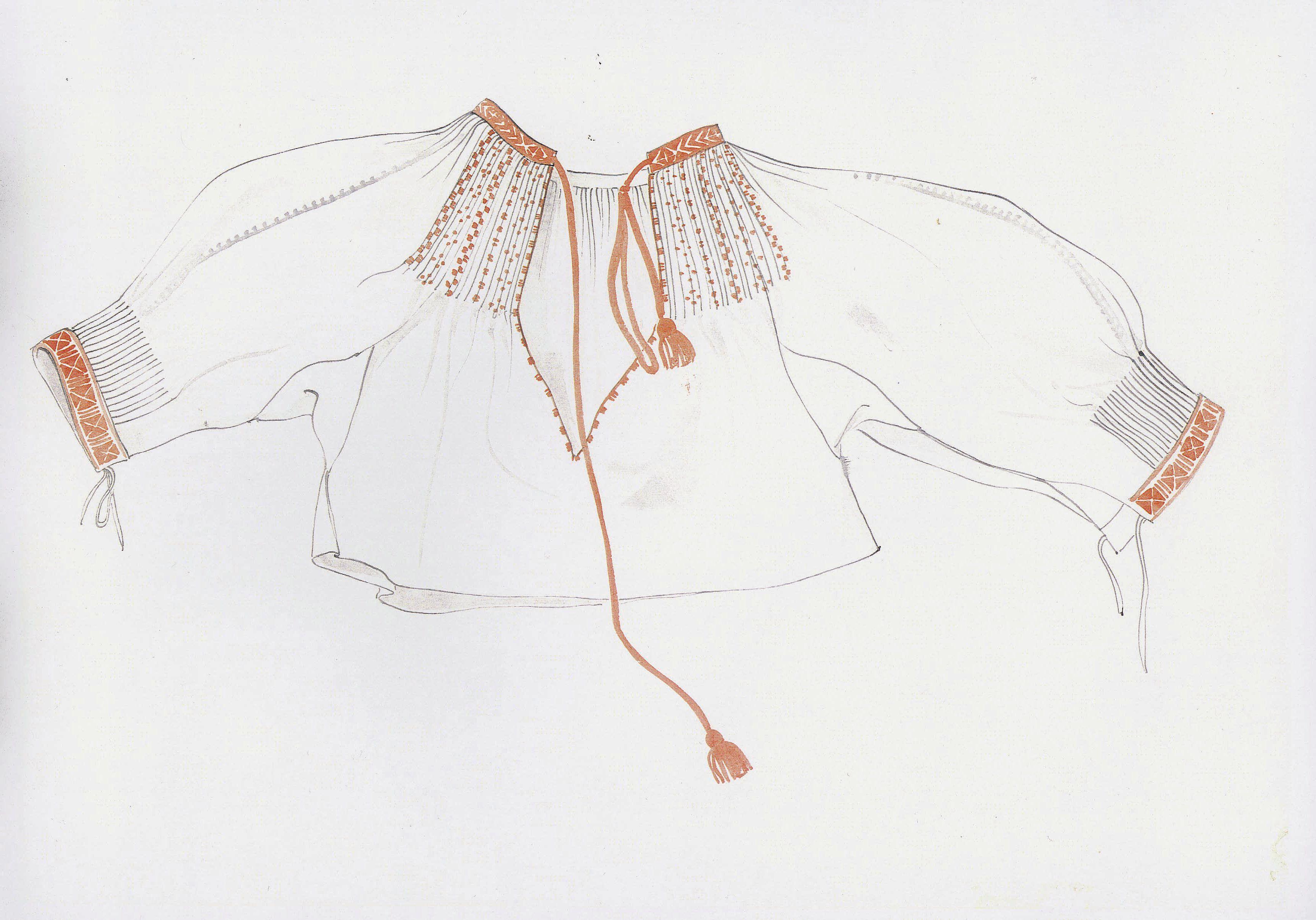 Rukávce, Myslava, druhá štvrtina 20. storočia. Rukávce, oplečko, je ušité z tenšieho kupovaného bavlneného plátna. Má rovný strih, s rukávmi bokom prišitými. Rukávy sú z jeden a pol poly plátna. Horný okraj drieku a rukávov je všitý do nízkeho stojatého goliera. Navyše, riasenie predného dielu drieku je zachytené sluškovacím stehom. Konce rukávov sú nazberané a všité do úzkych manžiet. Golier a manžety zdobí krížiková výšivka. Rukávce siahali niže pása. Oproti rukávcom z predchádzajúceho…