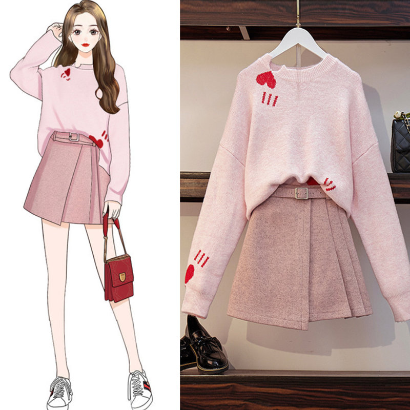 Love Heart Sweater ALine Skirt Set