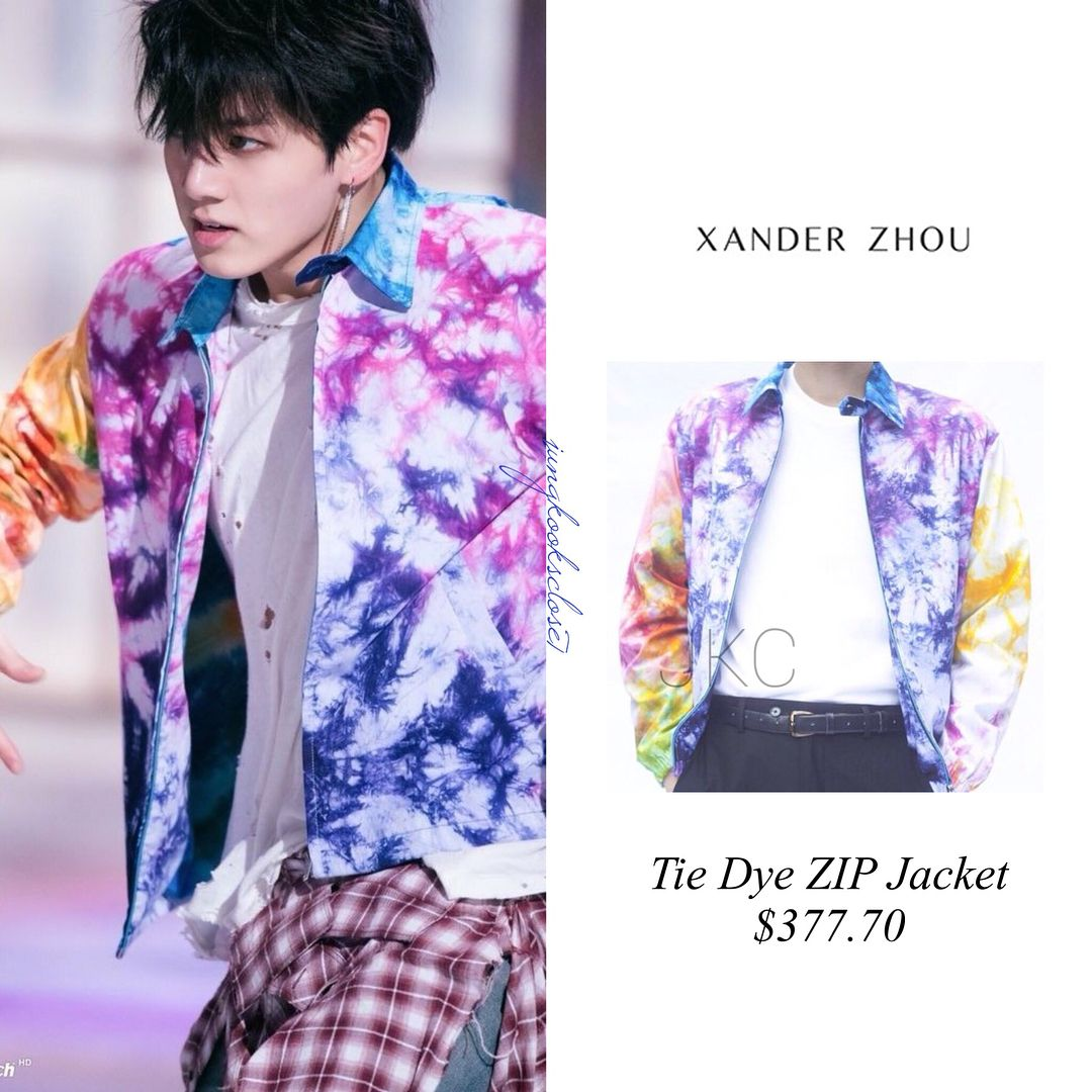 3bb07eceee834 Iconic jacket FAKE LOVE MV Jungkook is wearing XANDER ZHOU tie dye zip  jacket  377.70 UNRAVEL PROJECT trousers with raw edged plaid  995…