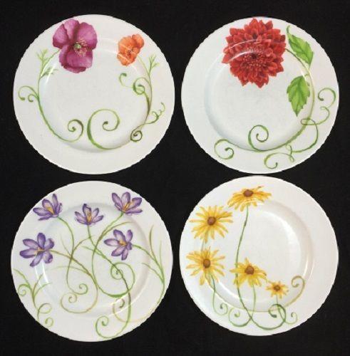 Westbury Court Lyrical Blooms Salad Plates Set of 4 Stacy Haase Puissant | eBay
