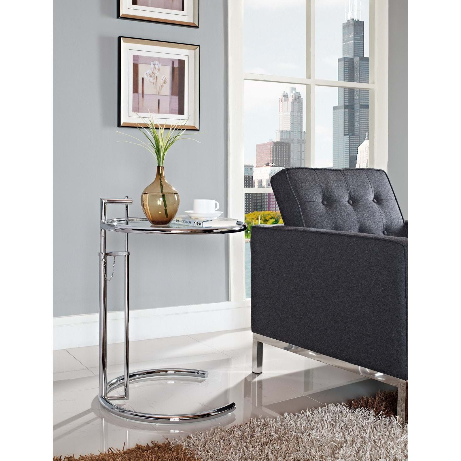 Modway Eileen Gray Side Table Silver Silber Beistelltisch Sofa Beistelltisch Beistelltisch