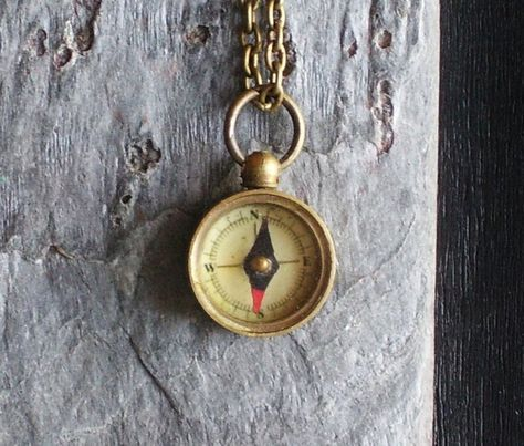 TINY working compass necklace in brass