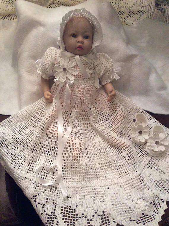 Thread filet crochet pattern for christening gown, bonnet and ...