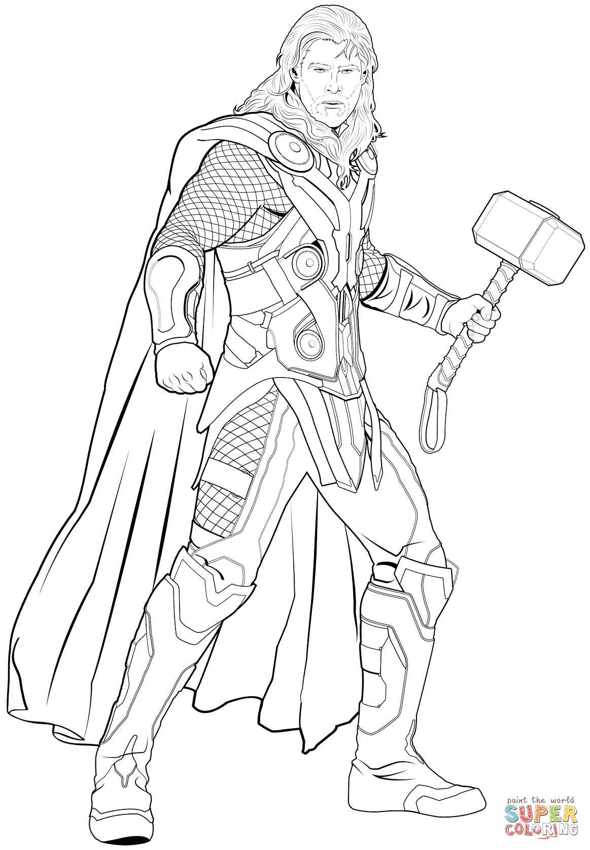Avengers Thor Coloring Page Free