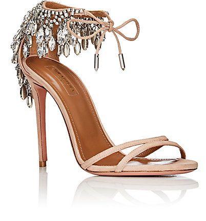 Aquazzura Eden Suede Ankle-Tie Sandals - Heels - 505249861