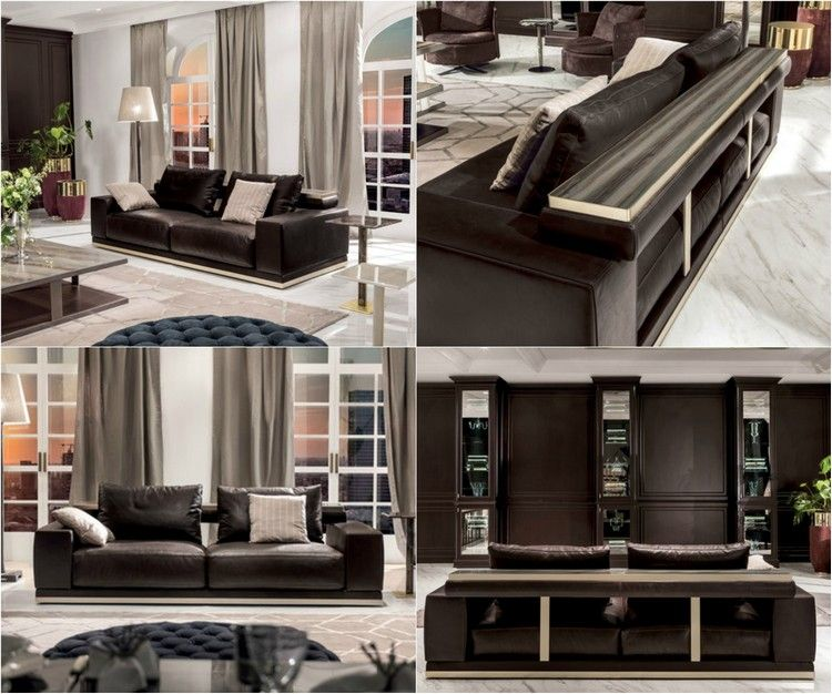 meuble salon design et canap s bas en cuir marron fonc. Black Bedroom Furniture Sets. Home Design Ideas